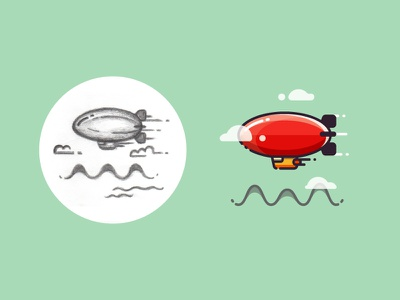 Dirigible - from sketch to result aircraft design icon flying air 2d outline drawing illustration flat sketch dirigible