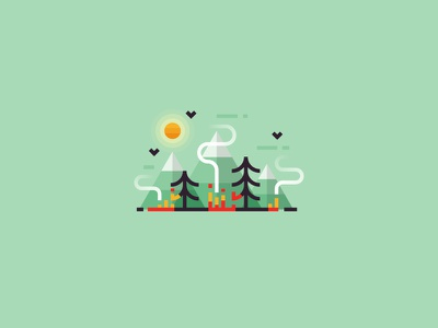 The forest is on fire smoke ui 2d icon minimalistic illustration outdoors mountains nature landscape forest fire