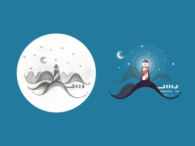 Night lighthouse - from sketch to result ui 2d illustration outdoors nature landscape marine sea ocean stars night lighthouse
