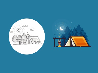 Camping - from sketch to result minimalist outdoors fire landscape ui 2d sketch vector illustration tent forest camping