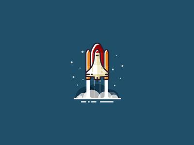 Rocket launch icon shuttle vector smoke flat 2d stars space illustration rocket launch rocket