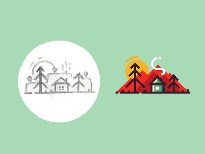 Alone in the forest - from sketch to result sun smoke ui vector flat 2d sketch illustration nature forest mountains house