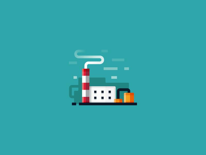 Factory - vector illustration industry building design art icon smoke ui vector flat 2d illustration factory