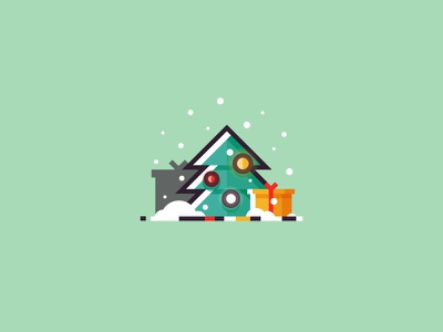 Christmas tree tree vector flat 2d illustration snow new year gift xmas holiday christmas christmas tree
