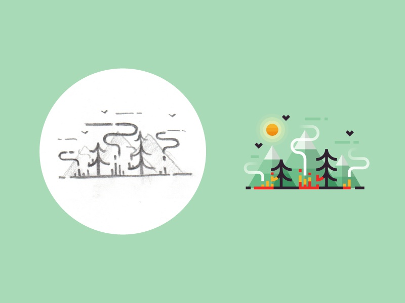 The forest is on fire - from sketch to result design 2d flat process sketch smoke fire tree landscape ui nature forest