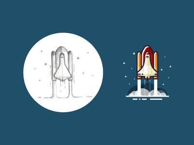 Rocket launch - from sketch to result icon shuttle vector sketch flat 2d stars space illustration rocket launch rocket