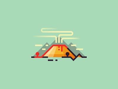Volcanic eruption minimalist smoke art ui illustrator vector illustartion 2d design nature volcanic eruption volcano