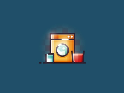 Washing machine - vector illustration minimalist illustrator lineart ui flat 2d machine design washing machine washing vector illustration