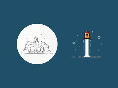 Rocket launch - from sketch to result space flat design 2d outline icon illustrator sketch illustration minimalist rocket launch rocket