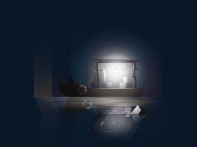Late Night Fishing fishing fishing boat night boat illustration vector design art graphic design realistic visualization light
