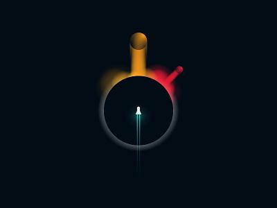 Black Hole blackhole black hole rocket illustration vector design planet minimalist illustrator ui