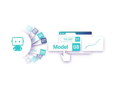 DataRobot - Easy Deployment automation machine learning webdesign design illustration deployment datarobot data science model ai vector
