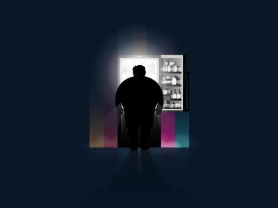 Late Night Eating overweight food vector web illustration illustrator ui design frost fridge light realistic