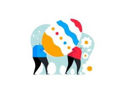 Easter Egg Hunt geometric easter negative space easter egg adobe illustrator illustrator 2d vector design spring dribbble illustration