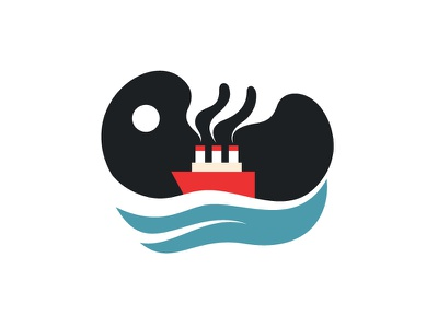 Steamer - minimalist illustration steamer boat ship steamboat ocean minimalist negative space icon illustration marine 2d clean