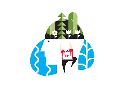 Wix Playoff: Designer's Mind minimalist brain mind wix playoff character icon flat infographic paradise abstract illustration web design graphic design
