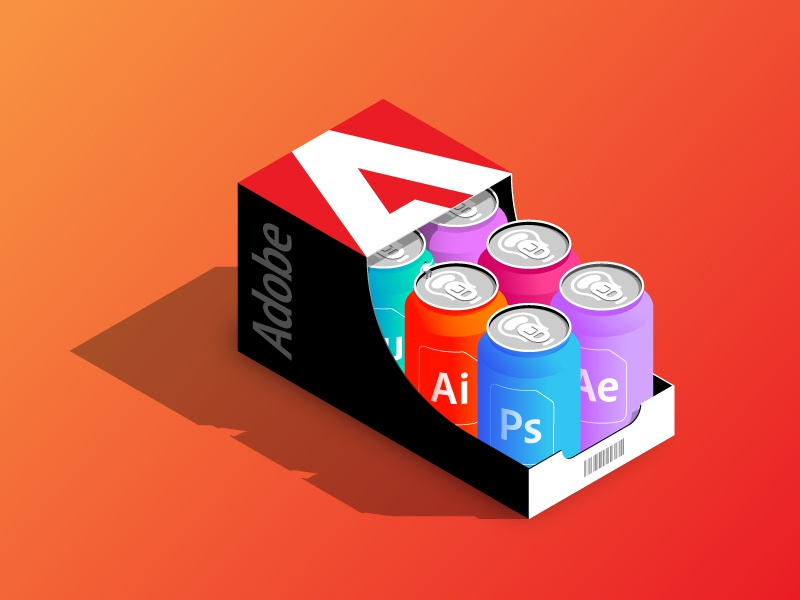 The Adobe Drinks - Unpack Your Creative Fuel adobe web concept vector illustration isometric can visualization drink colorful shapes dimensional illustration