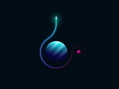 Space Exploration space geometry design glowing spacecraft universe gradient rocket illustration illustrator vector