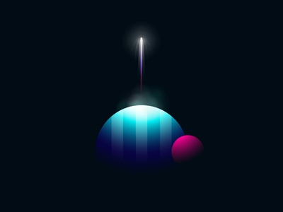 Take Off vector illustration rocket gradient universe spacecraft glowing take off minimalist geometry space