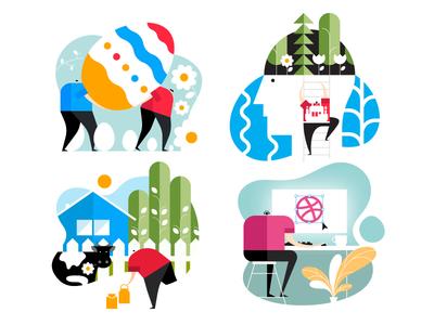 Little Head Guys - Flat Design (Part 2) vector design illustrator illustration 2d flat negative space outdoors nature flower tech fire vector character design little head minimalist