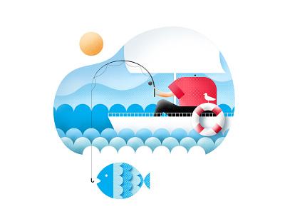 Fisherman charachter sun 2d illustrator design character art negative space flat bird character illustration ship sail outdoors sea nature fish marine