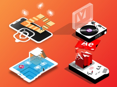 Isometric Concepts (Adobe & Instagram) icon instagram graphic  design graphic notch pool gameboy adobe 3d isometric design isometric illustrator illustration design vector