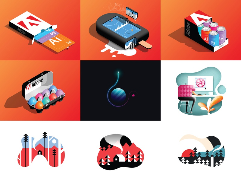 Top 9 of 2018 vector design nature outdoors abstract adobe illustrator isometric minimalist illustrator illustration 2018 best nine design vector