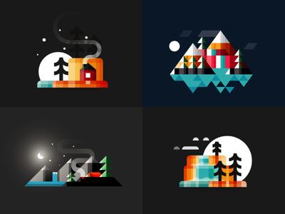 Midnight midnight illustrator outdoors nature minimalist illustration vector 2d icon flat graphic  design