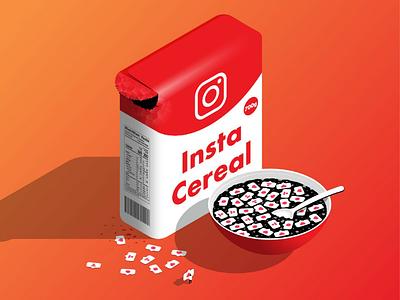 Insta Cereal marketing like instagram social media graphic design food character 2.5d vector design vector illustration isometric cereal design