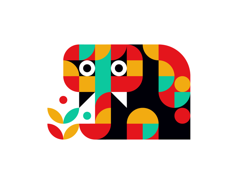 Baby Elephant pattern vibrant vector simple shape ornament nature elephant minimalist minimal illustration icon graphic design geometric art geometric flat design bright abstract 2d