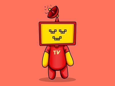 Tivia character tv red artwork vector illustration adobe illustrator illustrator