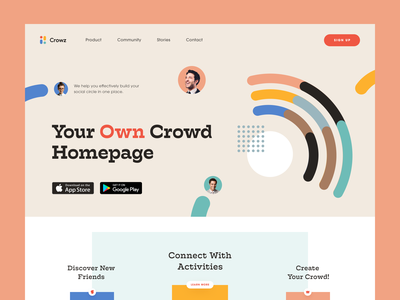 Crowz Community Website leadership mentorship activity social platform platform community entrepreneur startup business halo lab halo colourful design website