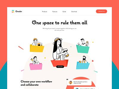 Oneder Website Animation collaboration animation storage interactive management service workload tasks entrepreneur startup business halo lab halo colourful design website