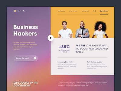 Mr. Booster Website ux ui web design analytics sales money income conversion profit investments entrepreneur startup business halo lab halo colourful design website