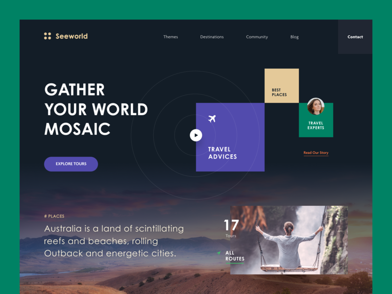 Seeworld Travel Agency Website vacation worldwide travel platform travel agency to go service travel service travel web design entrepreneur startup business halo lab halo colourful design website