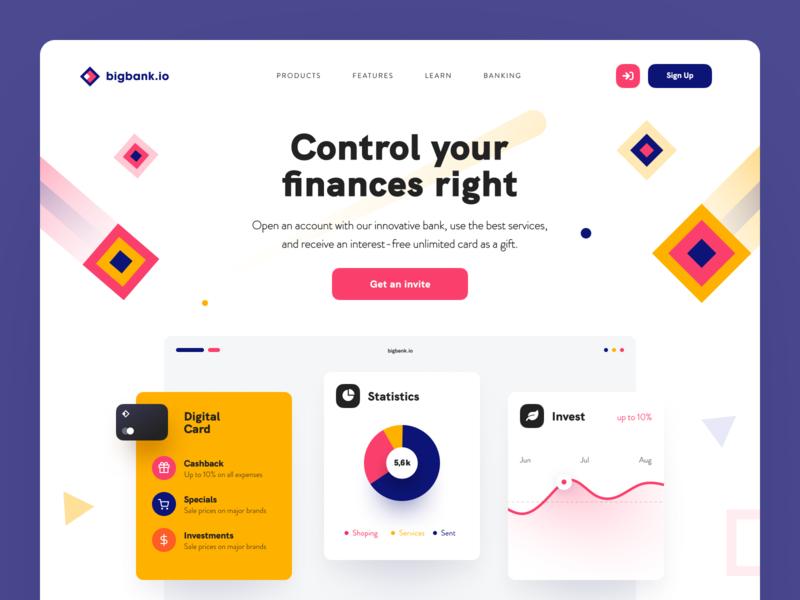 BigBank Website money matters debit bank finance economical online banking financial web design entrepreneur startup business halo lab halo colourful design website