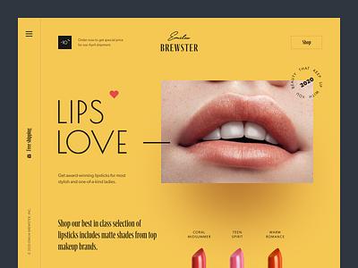 Emilia Brewster Website beauty lipstick e-commerce e-shop beauty products shop web design entrepreneur startup business halo lab halo colourful design website