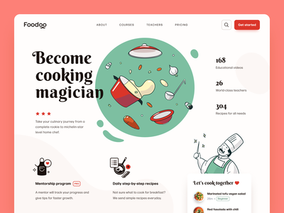 Foodoo Cooking Academy Website cooking education mentorship cooking acaddemy cooking service art illustration web design entrepreneur startup business halo lab halo colourful design website