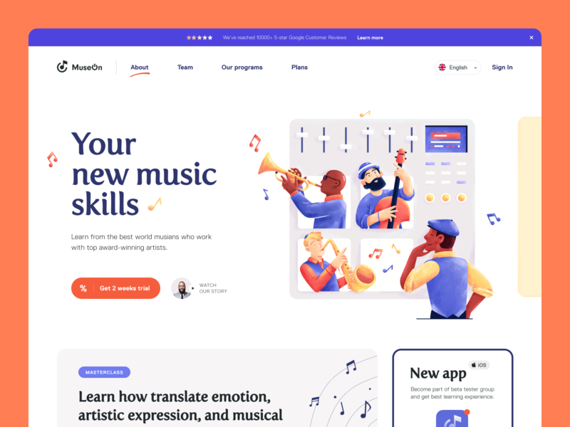 MuseOn Website music website web musical education music service entrepreneur startup business halo lab halo colourful design website ux ui interface