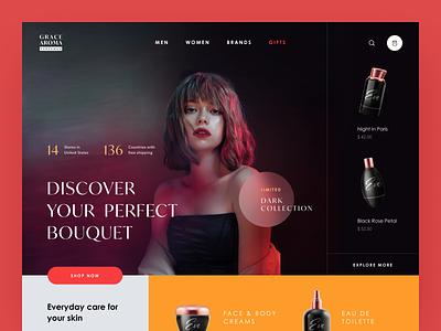 Grace Aroma Website mist gift body care fragrance beauty perfume aroma web ux ui startup service website interface
