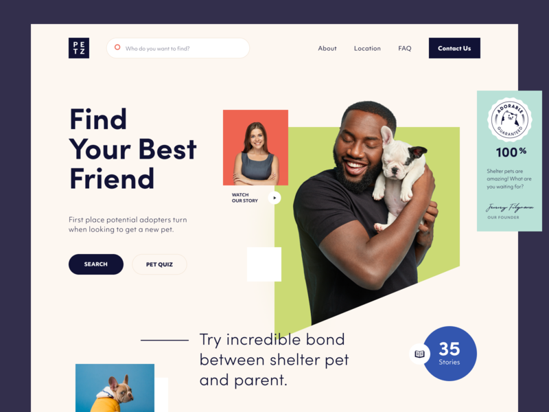 Petz Website support animals cat dog adopt love pets web ux ui startup service website interface