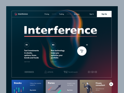 Interference Invest Website market currency trading funds investment web ux ui startup service website interface