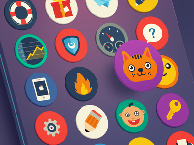 Flat Icons Set icon icons mobile web set cute flat simple color