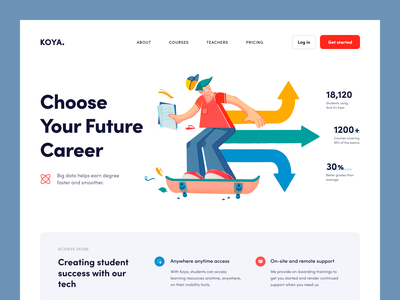 Koya Website learning study educational e-learning education web ux ui startup service website interface