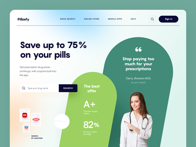 Pillzefy Website treatment pills drugs pharmacy web ux ui startup service website interface