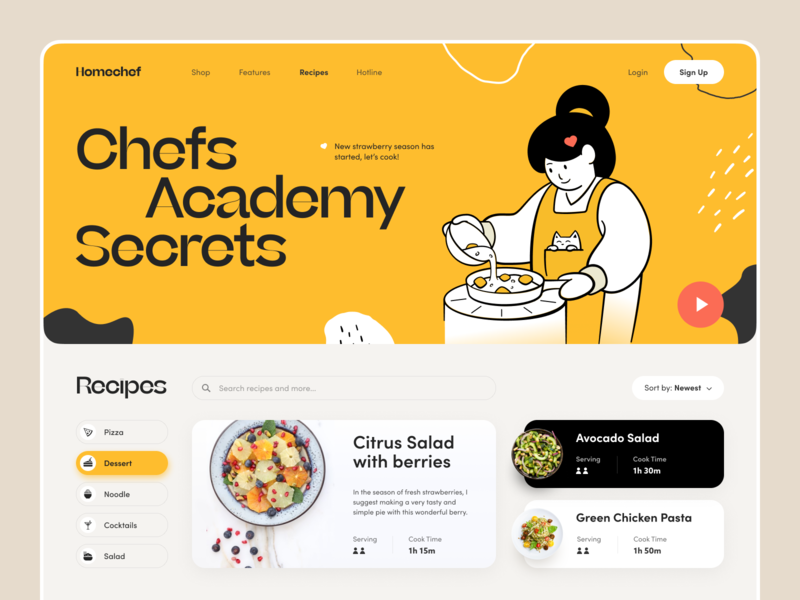 Kitchen secrets bakery kitchen beverage cook dish recipe food eat culinary chef yummy delicious tasty cooking ux ui startup interface design application