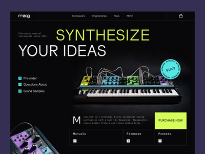 Mogg Synthesizers electro square tool musician music synthesizer web ux ui startup service website interface