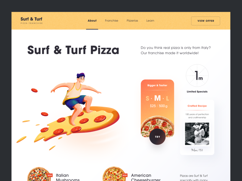 Surf Turf Pizza Website tasty delicious yummy food delivery food service pizza web ux ui startup service website interface