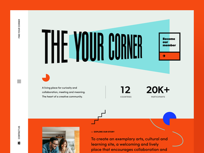 The Your Corner Coliving culture art creative community meeting collaboration place studio living private space product web ux ui startup service website interface