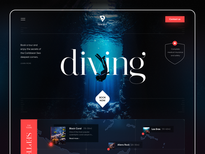 Inwave Diving underwater swimming deep scuba diving canyon coral wave ocean seaside tour diving travel product web ux ui startup service website interface